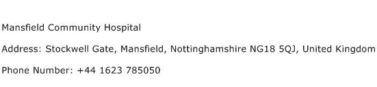 Mansfield Community Hospital Address Contact Number