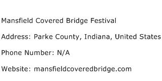 Mansfield Covered Bridge Festival Address Contact Number