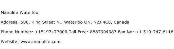 Manulife Waterloo Address Contact Number