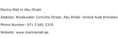 Marina Mall in Abu Dhabi Address Contact Number