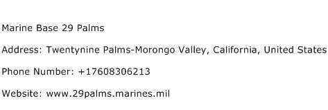 Marine Base 29 Palms Address Contact Number