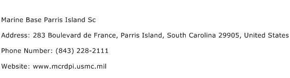 Marine Base Parris Island Sc Address Contact Number