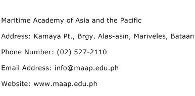 Maritime Academy of Asia and the Pacific Address Contact Number