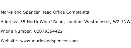 Marks and Spencer Head Office Complaints Address Contact Number