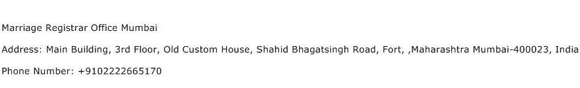 Marriage Registrar Office Mumbai Address Contact Number