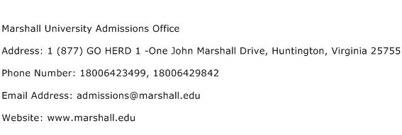 Marshall University Admissions Office Address Contact Number