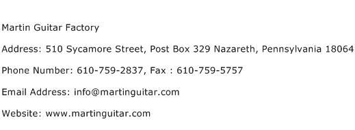 Martin Guitar Factory Address Contact Number