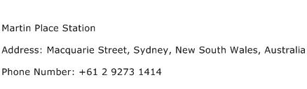 Martin Place Station Address Contact Number