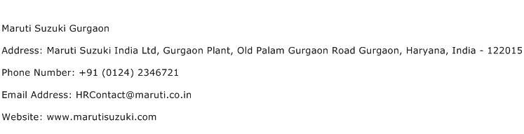 Maruti Suzuki Gurgaon Address Contact Number