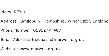 Marwell Zoo Address Contact Number