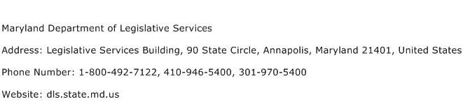 Maryland Department of Legislative Services Address Contact Number
