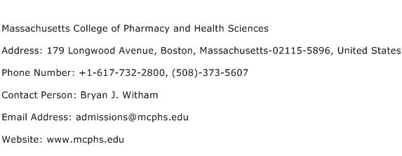 Massachusetts College of Pharmacy and Health Sciences Address Contact Number