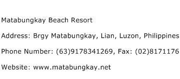 Matabungkay Beach Resort Address Contact Number