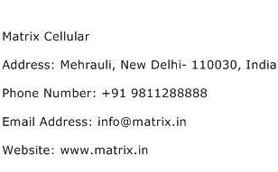 Matrix Cellular Address Contact Number