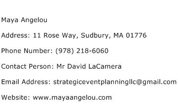 Maya Angelou Address Contact Number
