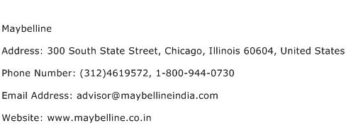 Maybelline Address Contact Number
