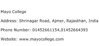 Mayo College Address Contact Number