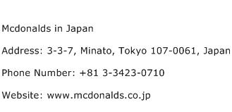 Mcdonalds in Japan Address Contact Number