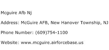 Mcguire Afb Nj Address Contact Number