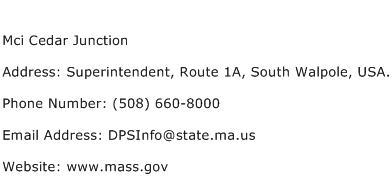 Mci Cedar Junction Address Contact Number