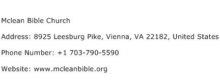 Mclean Bible Church Address Contact Number