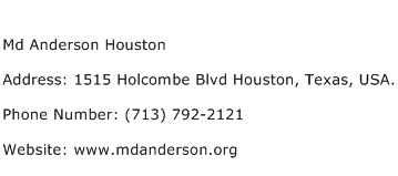 Md Anderson Houston Address Contact Number
