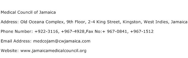 Medical Council of Jamaica Address Contact Number
