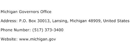 Michigan Governors Office Address Contact Number