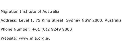 Migration Institute of Australia Address Contact Number