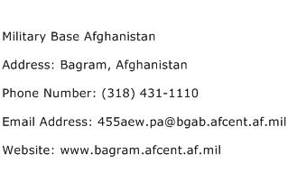 Military Base Afghanistan Address Contact Number