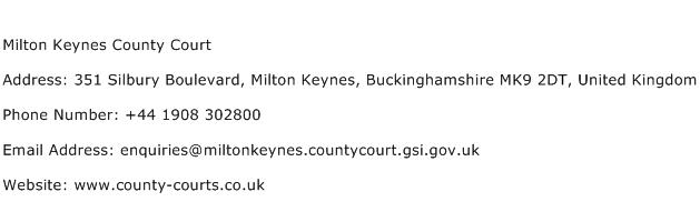 Milton Keynes County Court Address Contact Number