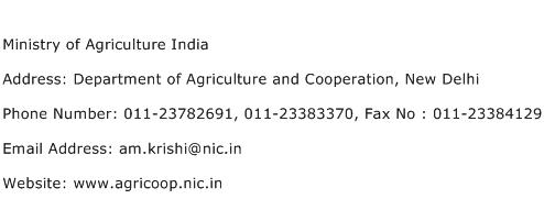 Ministry of Agriculture India Address Contact Number
