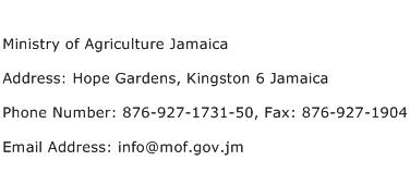 Ministry of Agriculture Jamaica Address Contact Number
