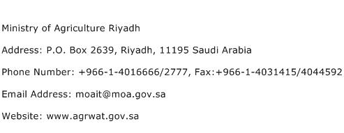 Ministry of Agriculture Riyadh Address Contact Number