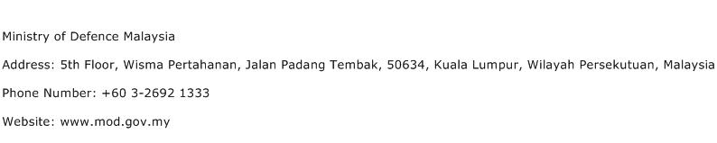 Ministry of Defence Malaysia Address Contact Number
