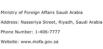 Ministry of Foreign Affairs Saudi Arabia Address Contact Number