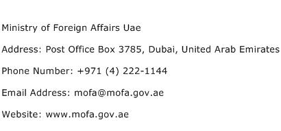 Ministry of Foreign Affairs Uae Address Contact Number