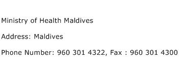 Ministry of Health Maldives Address Contact Number