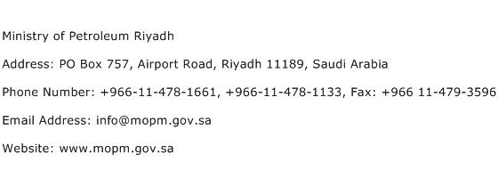 Ministry of Petroleum Riyadh Address Contact Number