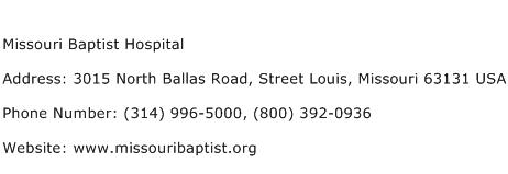 Missouri Baptist Hospital Address Contact Number