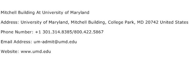 Mitchell Building At University of Maryland Address Contact Number