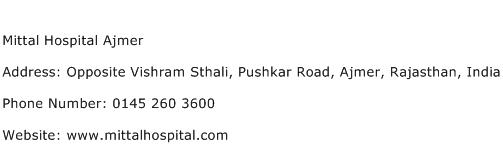 Mittal Hospital Ajmer Address Contact Number