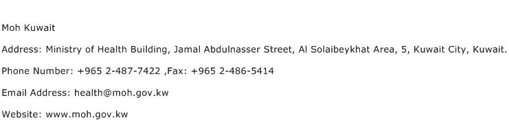 Moh Kuwait Address Contact Number