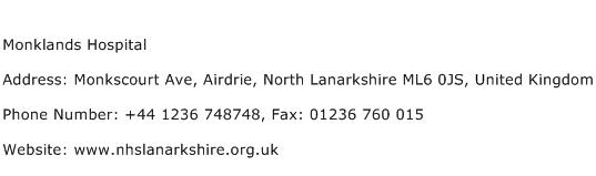 Monklands Hospital Address Contact Number
