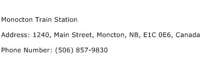 Monocton Train Station Address Contact Number