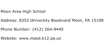 Moon Area High School Address Contact Number