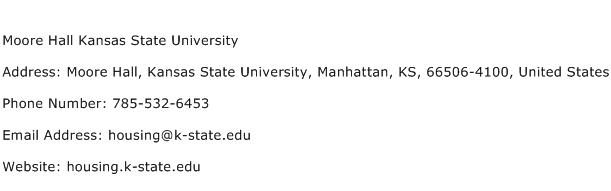 Moore Hall Kansas State University Address Contact Number