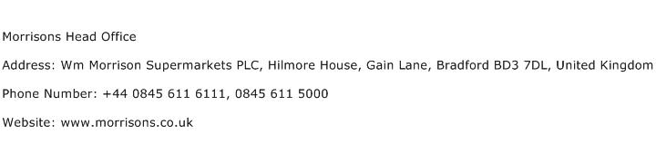 Morrisons Head Office Address Contact Number