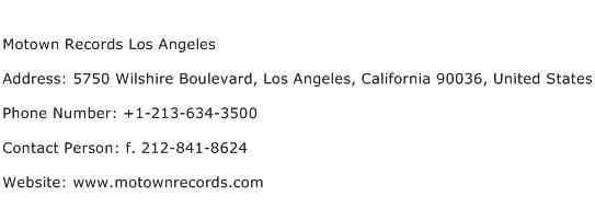 Motown Records Los Angeles Address Contact Number