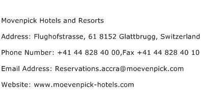 Movenpick Hotels and Resorts Address Contact Number